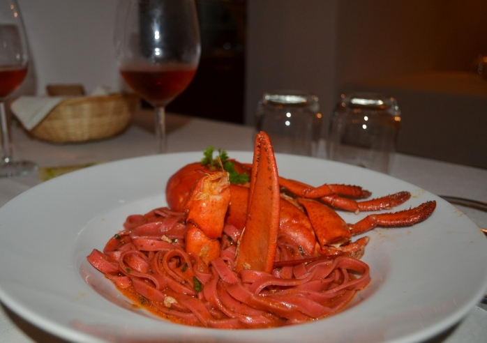 fettuccine negroamaro with lobster