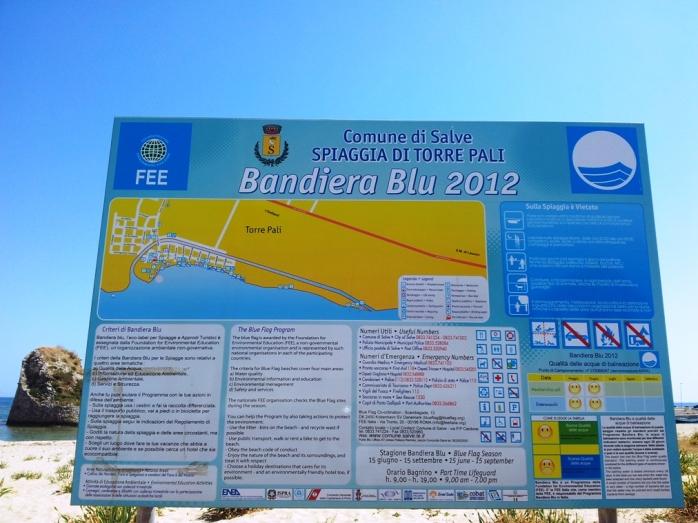 blue flag for Torre Pali